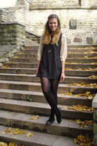 black OASAP dress - black tweed elite flats - light brown random necklace
