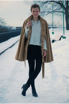 camel wool Monton cape - black Tamaris boots - off white random brand sweater