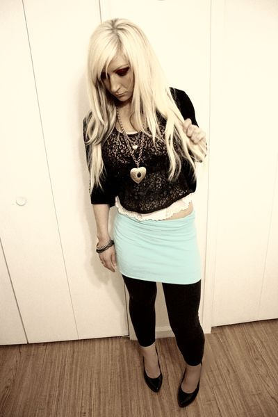 thrifted accessories - vintage lace cammie intimate - Forever 21 top - Express l