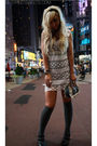White-vintage-dress-gray-diesel-socks-black-f21-accessories-black-f21-shoe