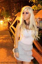 silver asos skirt - white asos vest - silver asos bracelet - vintage accessories