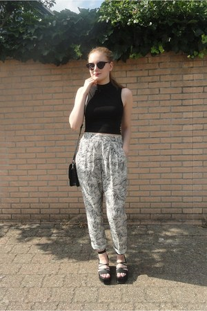 black crop Monki top - Monki bag - cat eye Cheap Monday sunglasses