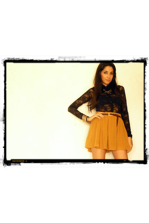 lace Forever 21 blouse - Zara belt - Forever 21 skirt - H&M bracelet