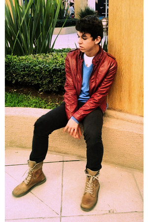 bronze boots romans boots - brick red leather jacket Zara jacket