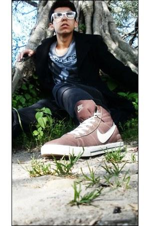black skinny jeans Zara jeans - black coat Bershka coat
