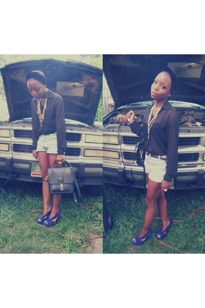 Jessica Simpson pumps - American Apparel scarf - vintage Bongo shorts