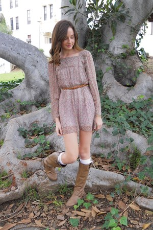 braided Nordstrom belt - Target boots - floral print Nordstrom dress