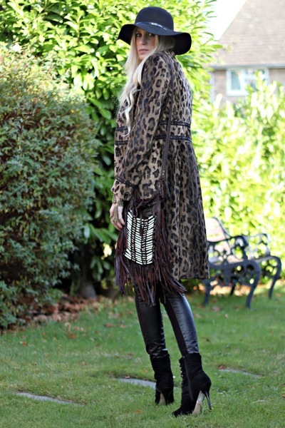 karen millen coat - Nine West boots - new look hat - spell bag - Topshp pants