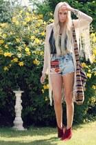 DIY shorts - asos boots - Topshop cardigan