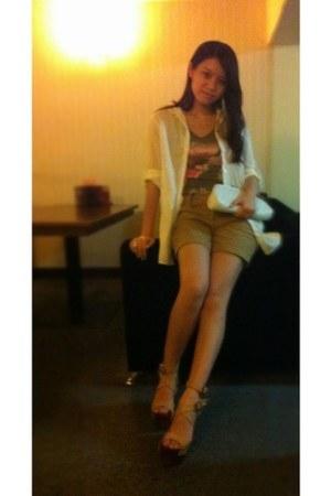 white Chanel bag - mustard clogs - white blouse
