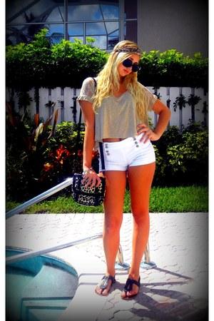 camel cheetah print Forever 21 bag - white matelot Topshop shorts
