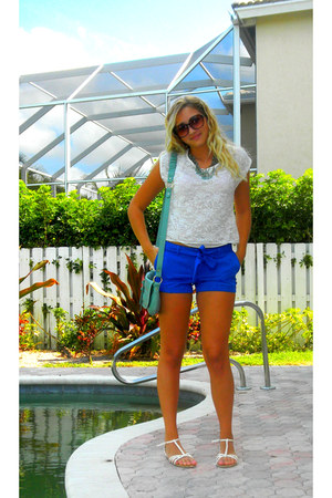 blue Forever 21 shorts - ivory lace Nordstrom top