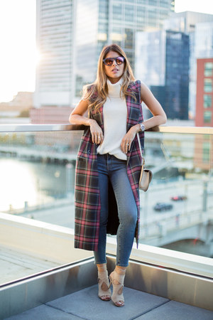 maroon tartan The Fifth vest