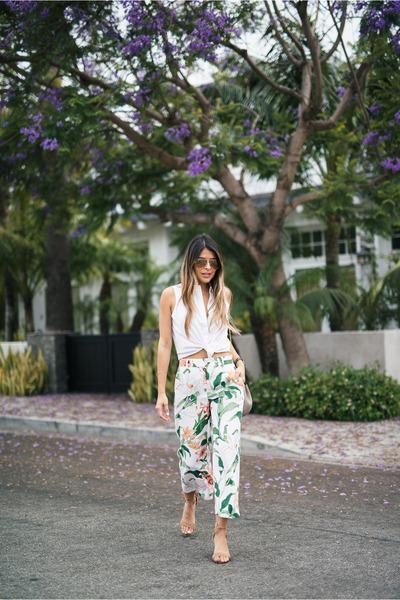 green floral print ann taylor pants
