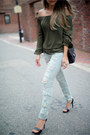 Light-blue-ripped-blanknyc-jeans-army-green-asos-top