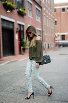 light blue ripped BLANKNYC jeans - army green asos top