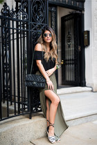 olive green olive Forever 21 skirt - black chanel Chanel bag