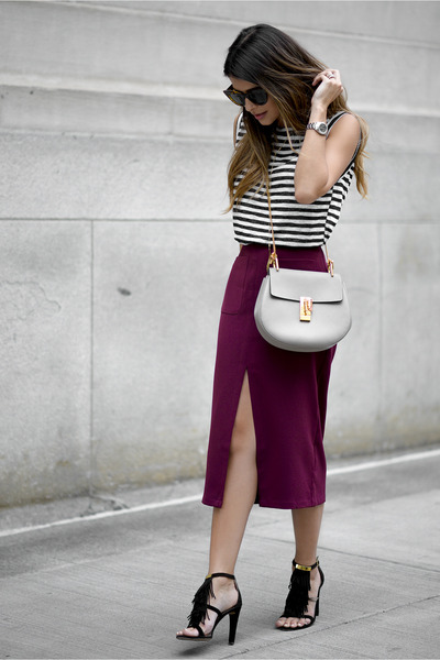 Heather-gray-chloe-bag-maroon-high-waist-forever-21-skirt