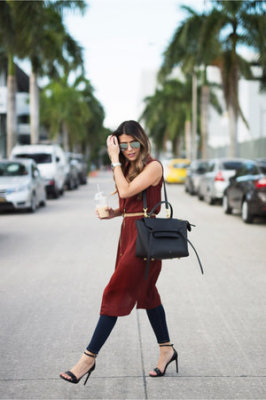 crimson shirt Mango dress