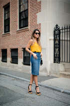 blue denim 7 for all mankind skirt - gold tank top Topshop top