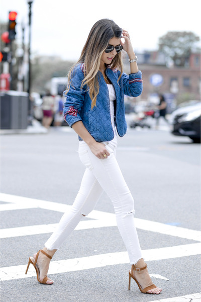 blue quilted Forever 21 jacket - white ripped free people jeans