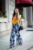 mustard ruffled Forever 21 top - navy wide leg Forever 21 pants