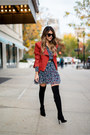 Black-over-the-knee-delman-boots-navy-floral-print-bcbgeneration-dress