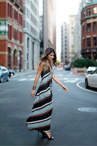 light blue striped Zara dress - black Yves Saint Laurent heels