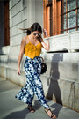 Mustard-ruffled-forever-21-top-navy-wide-leg-forever-21-pants