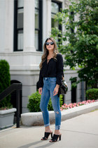 black mules banana republic shoes - blue high waist asos jeans