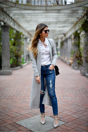 heather gray long cardigan Forever 21 cardigan - navy ripped Express jeans