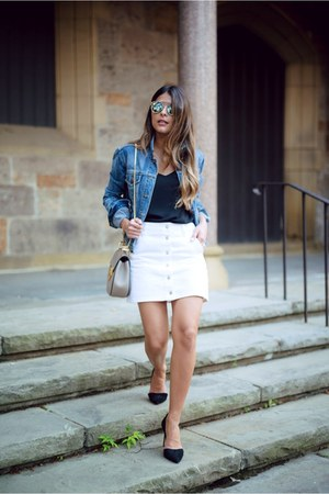 heather gray gray Chloe bag - white button front Topshop skirt
