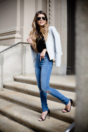 blue high waist asos jeans - light blue striped Express jacket