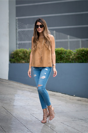 tan suede Topshop top - light blue ripped Topshop jeans