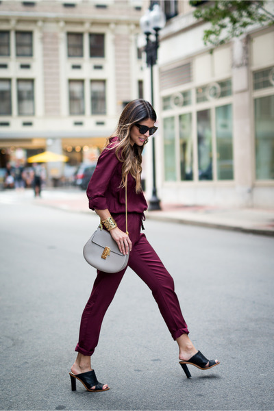 maroon burgundy Loft jumper - black mules banana republic shoes