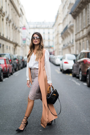 peach trench dress The Kayys vest - light purple tweed JCrew skirt