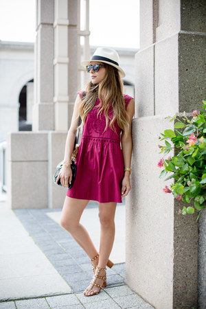 maroon crochet Loft dress