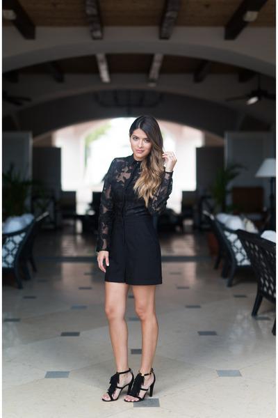 19d6cc1c4b black lace asos romper - black fringe Chloe sandals
