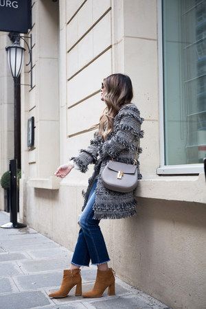 heather gray fringe intermix coat