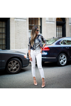 navy embroidered bcbg max azria jacket - white ripped free people jeans