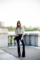 navy flare denim abercrombie and fitch jeans - white stripes JCrew top