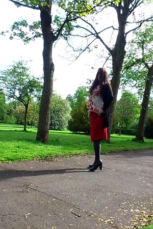black Cette Dublin tights - red Ebay blouse - red Marks and Spencer skirt