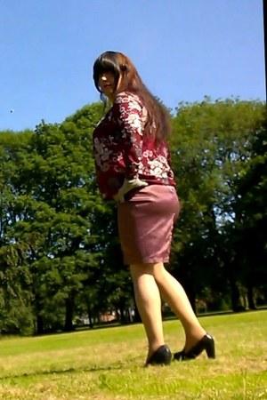 crimson Atmosphere blouse - pink satin George skirt - black next heels