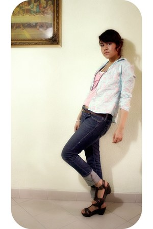 brown comfy PERUGIA shoes - navy skinny jeans Thinner jeans - light blue flower