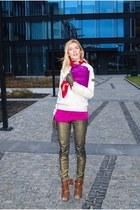 gold skinny MNG jeans - menswear versace sweater - vintage Hermes scarf