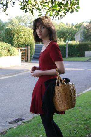 black mary jane New Yorker shoes - crimson Topshop dress