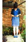 Blue-blazer-blue-top-black-belt-white-tights-