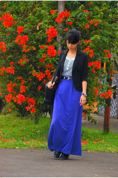 black Nevada boots - black no brand blazer - purple moms skirt