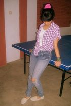 purple blouse - white top