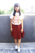 white print Thrift Store t-shirt - ruby red tartan custom made skirt